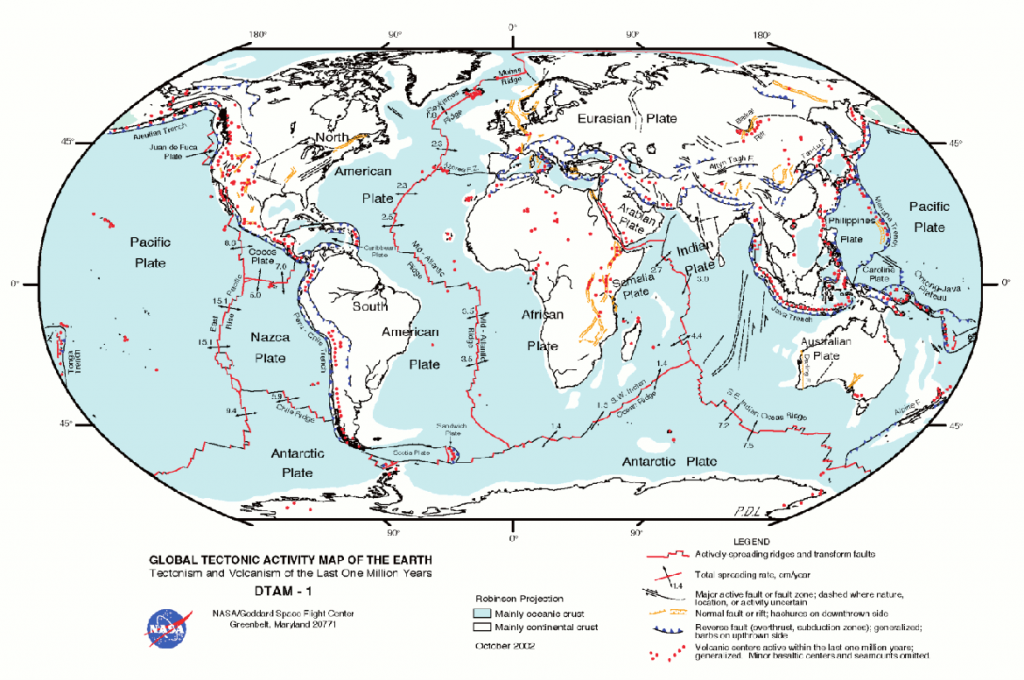 Tectonic plates of the Earth with spreading rates