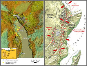 Twelve moderate earthquakes shook Malawi in December 2009. Lake Malawi is loka- ted on the East Africa Rift, which is splitting apart (red arrows) causing earthqakes yellow dots).The relative motion perpendicular and parallel to the Africa and Somalia tectonic plates margin is a combination of convergent, divergent and transverse relati- ve motions (shaderelief derived from ASTA-Data, Profile after http://blogs.ei.colombia.edu, map left derived after Chorowicz 2005)