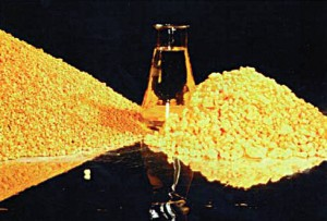 Yellowcake is a concentrated mixture of uranium Oxides, leached with either an acid or alkali (Photo: web.ead.anl.gov)