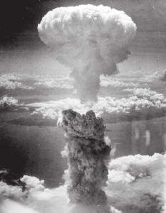 "The mushroom cloud of the nuclear bomb ""Fat Man"" of Nagasaki, Japan on August 9, 1945 rose some 18 kilometers (11 miles) above the bomb's target center."